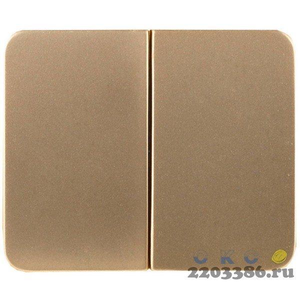"""Выключатель СВЕТОЗАР """"ГАММА"""" двухклавишный, без вставки и рамки, цвет золотой металлик, 10A/~250B"""