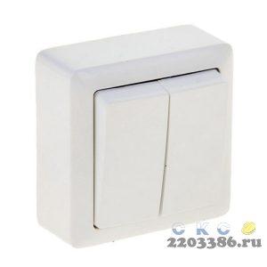ХИТ Выключатель двухклавишный наружный 250В 6А белый (ВА56-232-б)