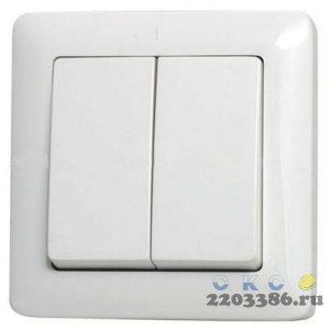 ХИТ Выключатель двухклавишный скрытый 250В 6А белый VS56-234-B