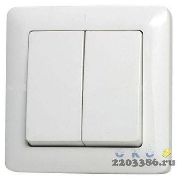 ХИТ Выключатель двухклавишный скрытый 250В 6А белый (ВС56-234-б)