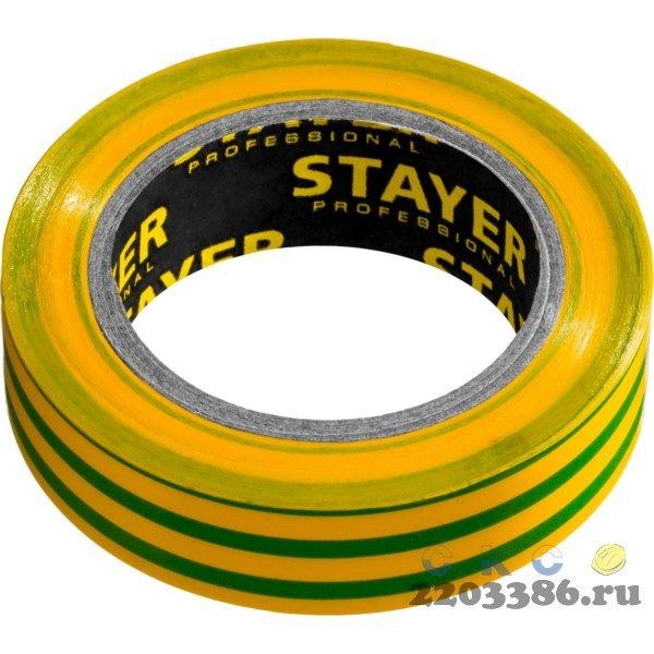 STAYER Protect-10 желто-зеленая изолента ПВХ, 10м х 15мм