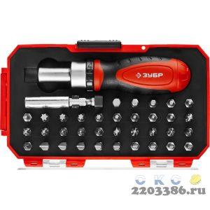 ЗУБР Компакт-37 набор: реверсивная отвертка с насадками 37 шт