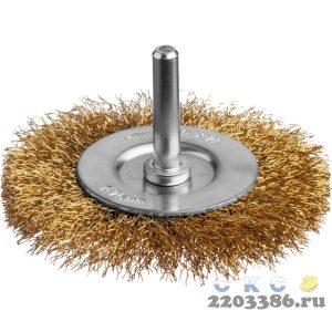Щетка дисковая для дрели, витая стальная латунированная проволока 0,3 мм, d=75 мм, MIRAX 35145-075