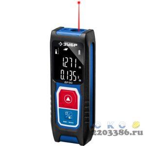 """Дальномер лазерный """"ДЛ-30"""", точность 3мм, дальность 30м, класс защиты IP54, ЗУБР Профессионал 34927"""