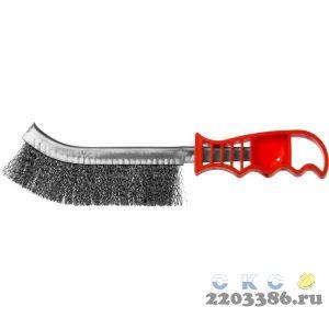 Щетка ручная с пластмассовой ручкой, однорядная, витая стальная проволока 0,3 мм, MIRAX 35112-2