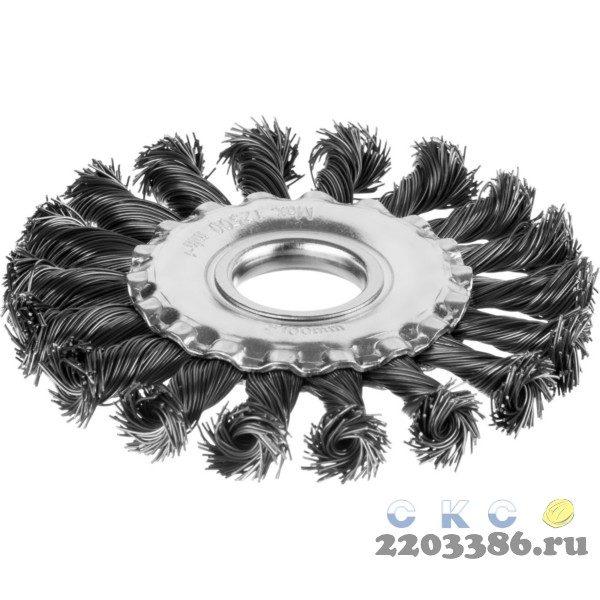 Щетка дисковая для УШМ, жгутированная стальная проволока 0,5 мм, d=100 мм, MIRAX 35140-100