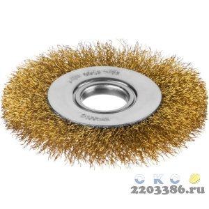 Щетка дисковая для УШМ, витая стальная латунированная проволока 0,3 мм, d=100 мм, MIRAX 35141-100