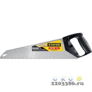 """Ножовка ударопрочная (пила) """"TopCut"""" 400 мм, 5 TPI, быстрый рез поперек волокон, для крупных и средних заготовок, STAYER"""