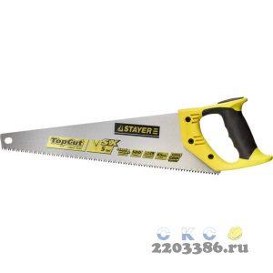 """Ножовка по дереву (пила) """"Cobra 5"""" 400 мм, 5 TPI, прямой крупный зуб, быстрый рез поперек волокон, для крупных и средних заготовок, STAYER"""
