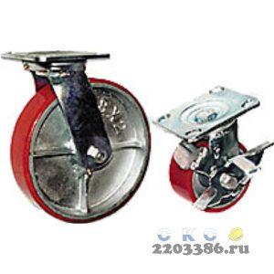 Колесная опора большегрузная LONGWAY SCpb 42 поворотная с тормозом, полиуретан, D-100 мм