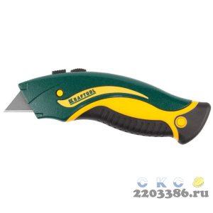 KRAFTOOL GRAND-24, универсальный нож с автостопом, 2 трап. лезвия А24