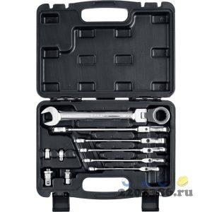 Набор комбинированных гаечных ключей трещоточных шарнирных с  адаптерами, 10 шт, 8 - 19 мм, ЗУБР