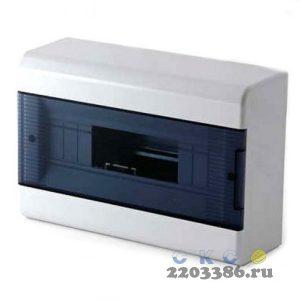 Щит распределительный навесной ЩРн-П-12 IP40 пластиковый белый с заземляющей шиной прозрачная дверь Тусо