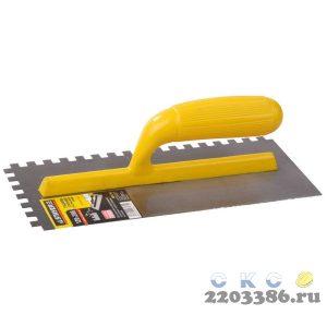 STAYER Master 130х27 0мм, 10х10 мм, гладилка штукатурная зубчатая нержавеющая с пластиковой ручкой