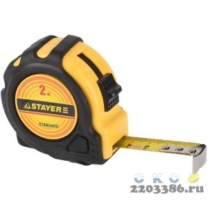 STAYER MASTER 5м / 19мм рулетка в ударостойком обрезиненном корпусе