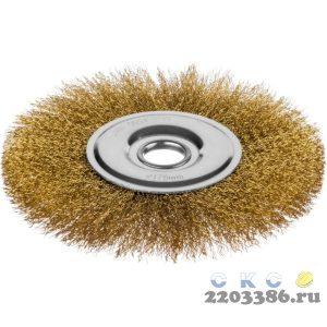 Щетка дисковая для УШМ, витая стальная латунированная проволока 0,3 мм, d=200 мм, MIRAX 35141-200
