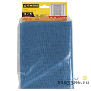 """Сетка STAYER """"STANDARD"""" противомоскитная, для окон, в индивидуальной упаковке, стекловолокно+ПВХ, синяя, 1,1 х 1,3м"""