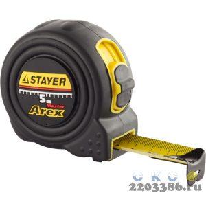 STAYER BlackMax 5м / 25мм рулетка в ударостойком полностью обрезиненном корпусе  и двумя фиксаторами
