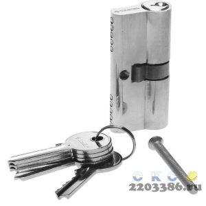 "Механизм ЗУБР ""МАСТЕР"" цилиндровый, тип ""ключ-ключ"", цвет хром, 5-PIN, 60мм"