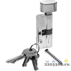 "Механизм ЗУБР ""МАСТЕР"" цилиндровый, тип ""ключ-защелка"", цвет хром, 5-PIN, 70мм"