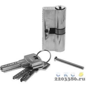 """Механизм ЗУБР """"ЭКСПЕРТ""""цилиндровый, повышенной защищенности, тип """"ключ-ключ"""", цвет хром, 6-PIN, 60мм"""