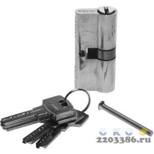"""Механизм ЗУБР """"ЭКСПЕРТ""""цилиндровый, повышенной защищенности, тип """"ключ-ключ"""", цвет хром, 6-PIN, 70мм"""