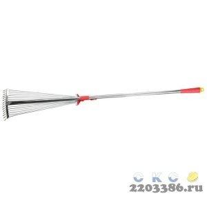 GRINDA GХ-30 грабли веерные с алюминиевым черенком, регулируемые, длина 1240 мм