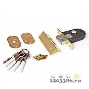 Замок врезной Apecs 90-K-G золото, 49х77мм, прямоугольный ригель, 5 ключей (12)