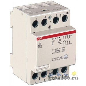 Контактор ESB40-40N-06 модульный (40А АС-1, 4НО), катушка 230В AC/DC
