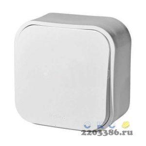 Quteo Выключатель одноклавишный наружный белый 10А