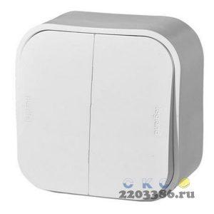 Quteo Выключатель двухклавишный наружный белый 10А