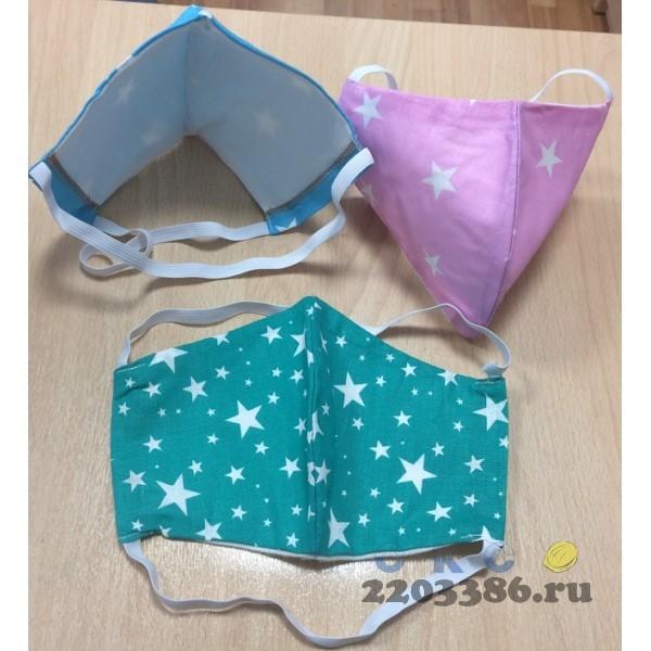 Маска для защиты органов дыхания многоразовая двухслойная,материал хлопок(Швейные изделия)