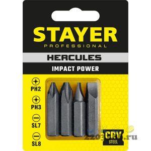 HERCULES Биты для ударной отвертки 4 шт 36 мм, STAYER