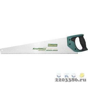 """Ножовка """"KraftMax"""" UNIVERSAL, универсальный точный рез, универсальный мелкий закаленный зуб, 9/10 TPI, 550мм, KRAFTOOL"""