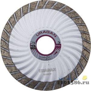 ТУРБО-Плюс 115 мм, диск алмазный отрезной сегментированный эвольвентный по бетону, камню, кирпичу, URAGAN